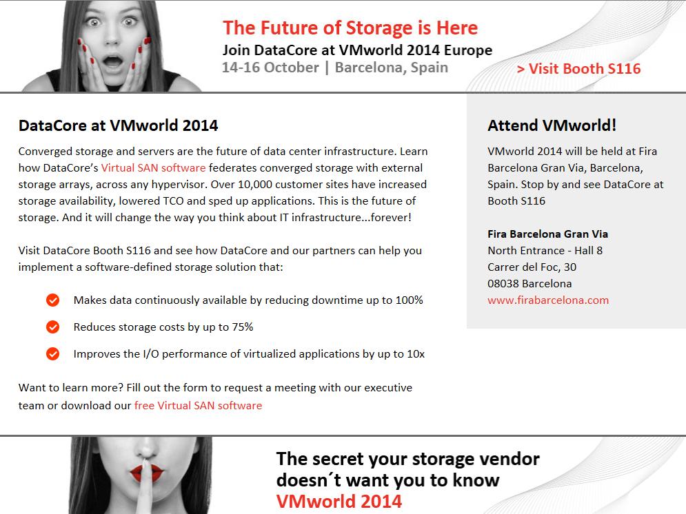 DataCore sarà presente al VMworld Europe a Barcellona dal Ottobre