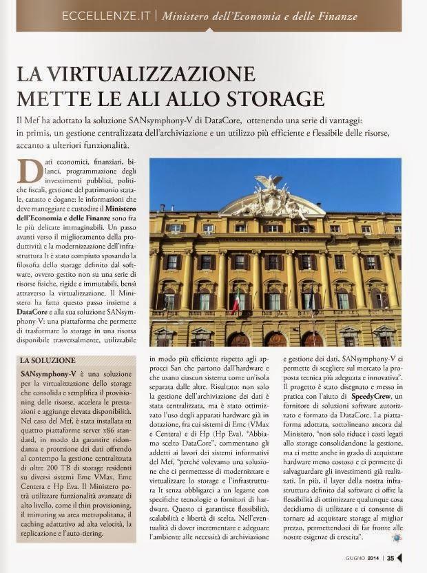 La virtualizzazione mette le ali allo storage DataCore e Ministero dell ; Economia e delle Finanze