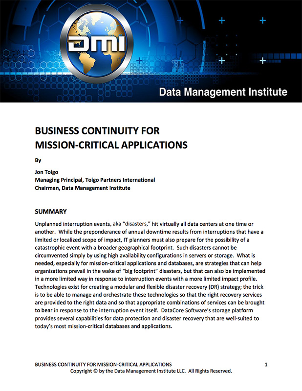 Business Continuity for Mission-Critical Applications