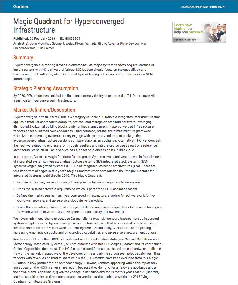 Gartner Recognizes DataCore in the 2018 Magic Quadrant for Hyperconverged Infrastructure