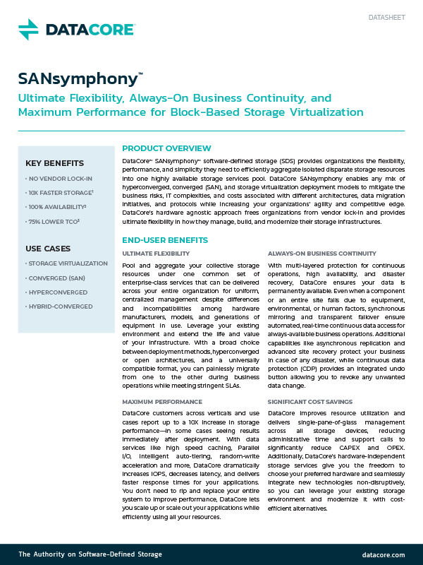 SANsymphony Data Sheet