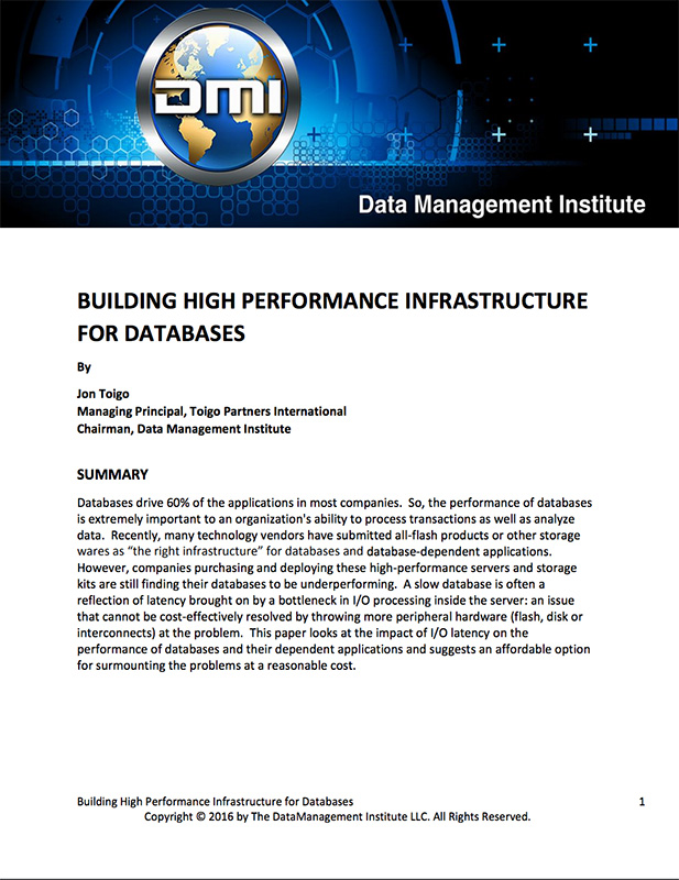 Building High Performance Infrastructure for Databases