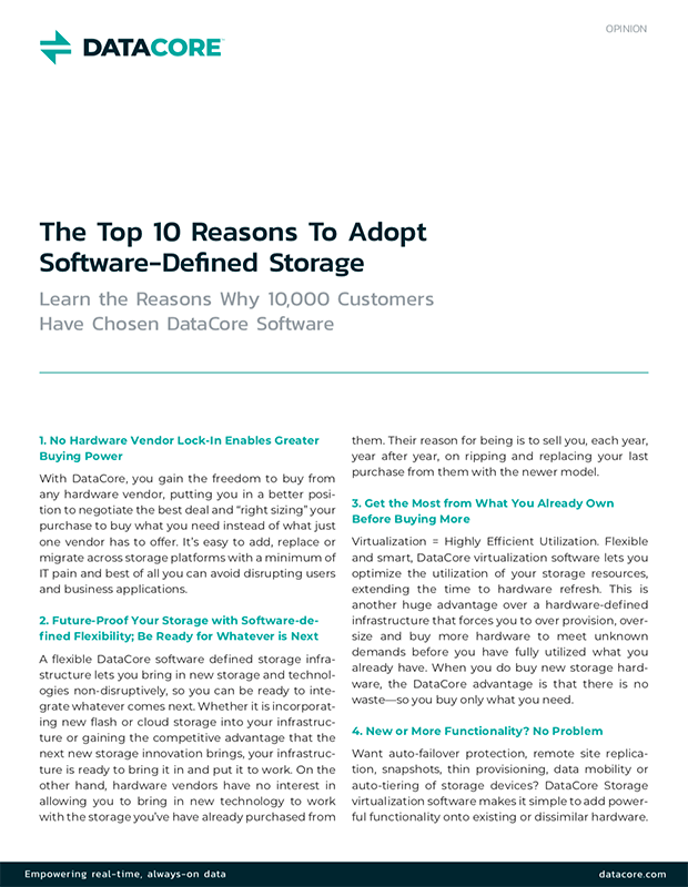 Top 10 Reasons to Adopt Software-Defined Storage