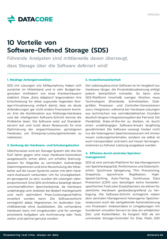 10 Vorteile von Software-Defined Storage