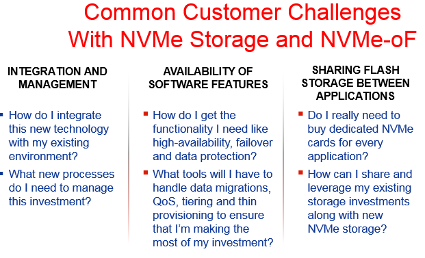 Common Customer challenges with NVMe and NVMe-oF; integration, availability and sharing flash