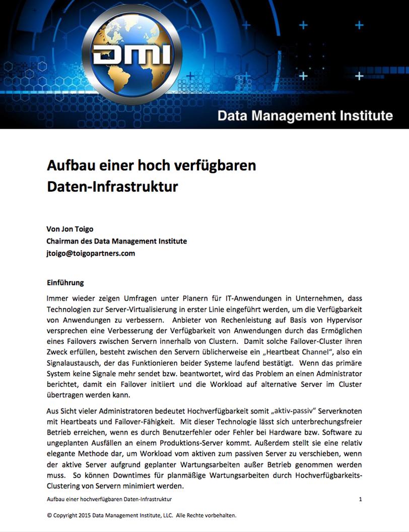 Aufbau einer hochverfügbaren Daten-Infrastruktur