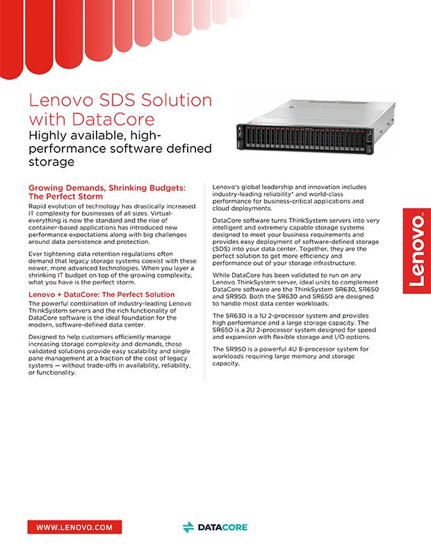 Solution SDS Lenovo avec DataCore