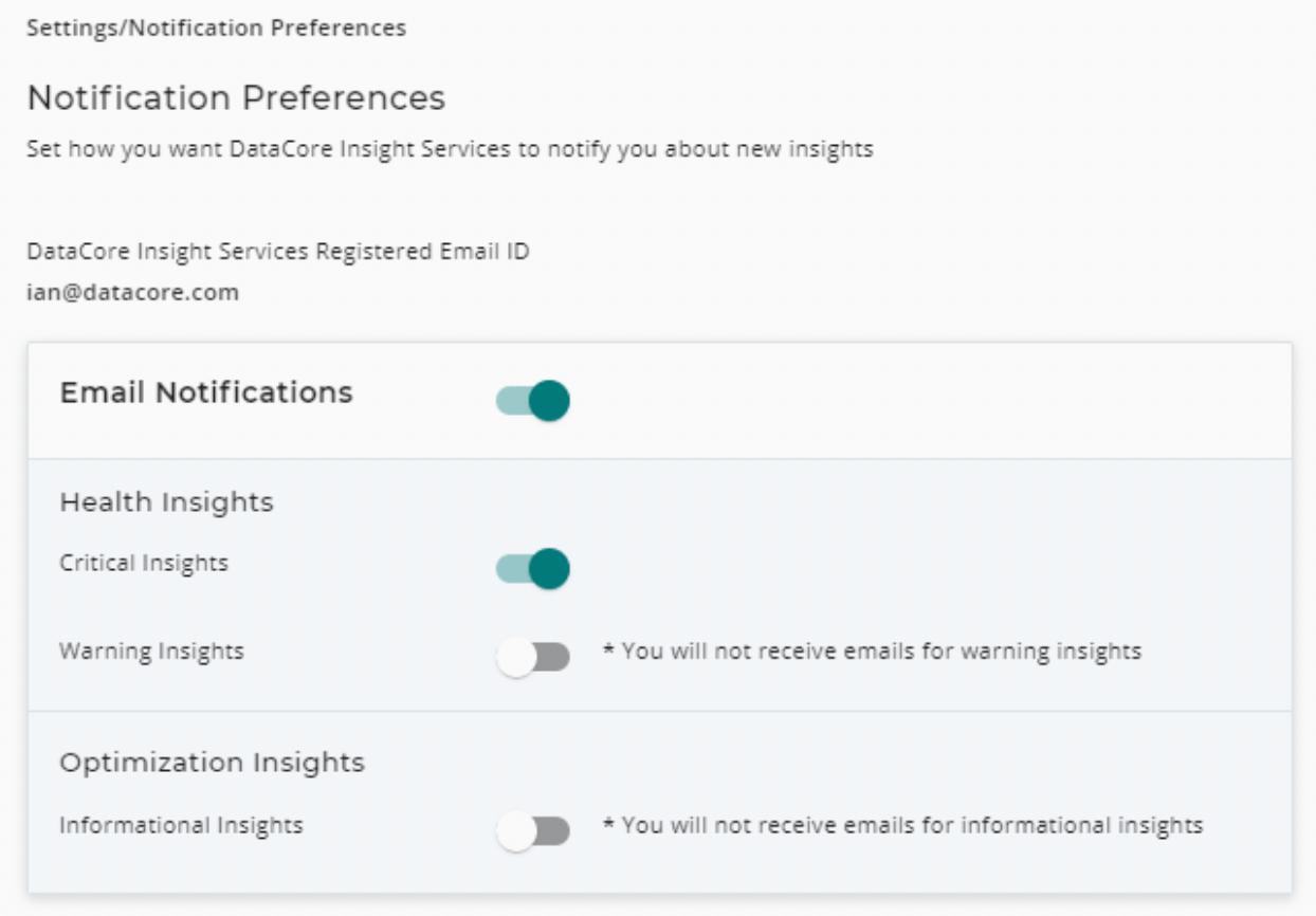 DIS notification preferences screenshot