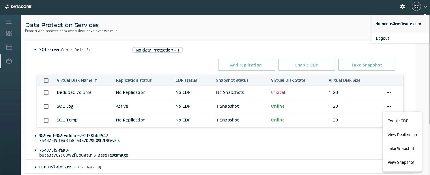 La console web per i servizi di protezione dati