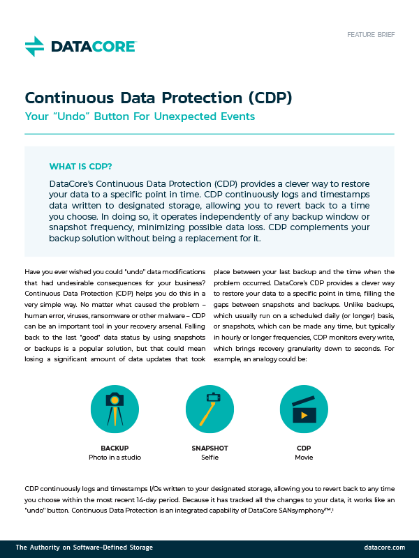"Continuous Data Protection (CDP) Your ""Undo"" Button For Unexpected Events"
