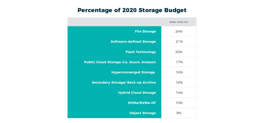 Percentage breakdown of IT organizations storage budget in 2020