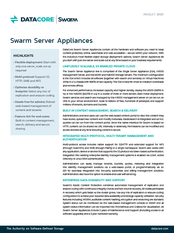 Swarm Server Appliances Product Brief Thumb