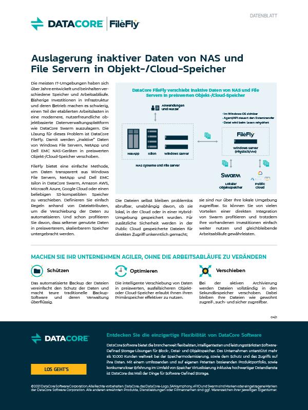 DataCore FileFly: Auslagerung inaktiver Daten von NAS und File Servern in Objekt-/Cloud-Speicher